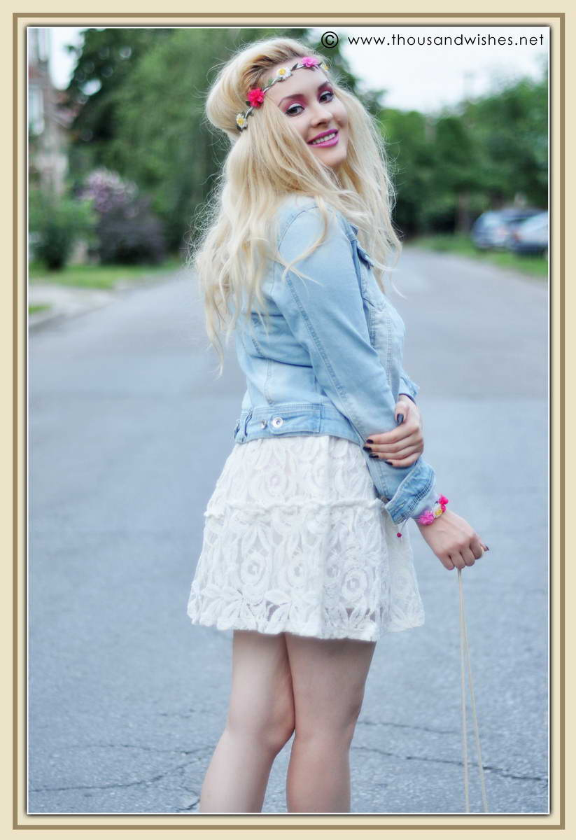 White Dress Jeans Jacket And Floral Headband Thousand Wishes