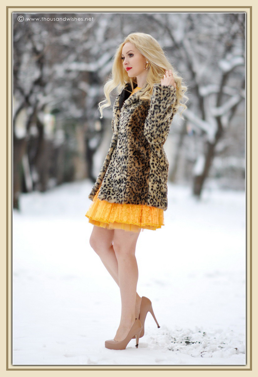 15_yellow_lace_prom_party_dress_leopard_coat