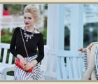 Midi striped skirt and updo hairstyle | 467 Views | Fame 18.68