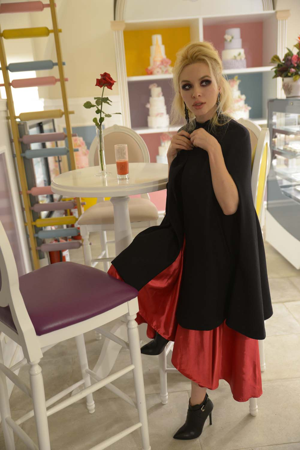 29_pastry_fucsia_skirt_black_cape